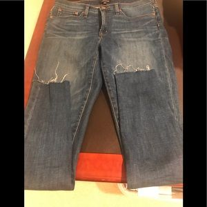 J.Crew gently used jeans with a raw hem.